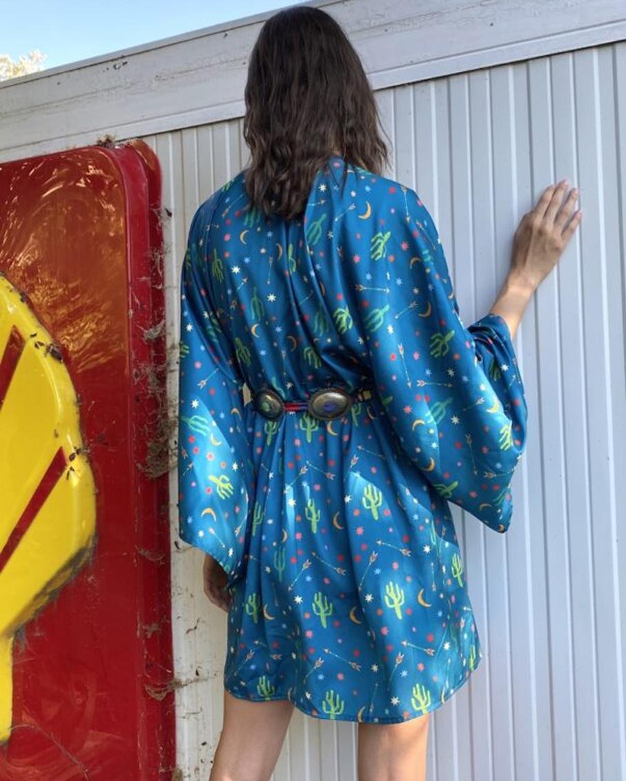 LONG KIMONO DRESS CACTUS PETROL COLOR