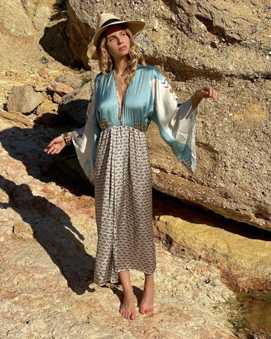 ARROW PRINT LONG KIMONO DRESS MULTI COLOR