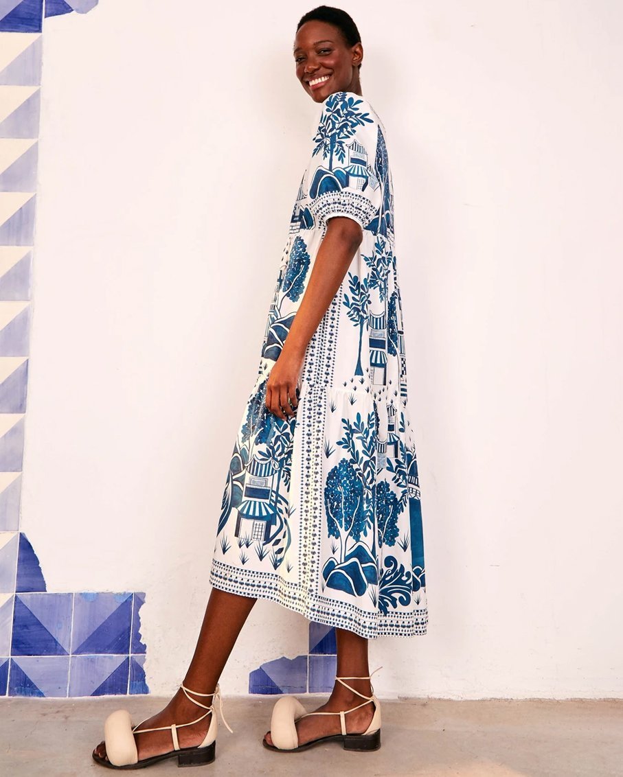 ANCIENT GARDEN MIDI DRESS MULTI