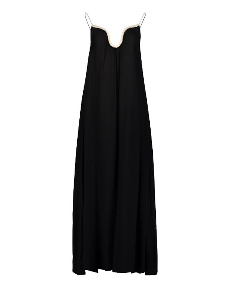 ANNA ROPE V NECK DRESS BLACK