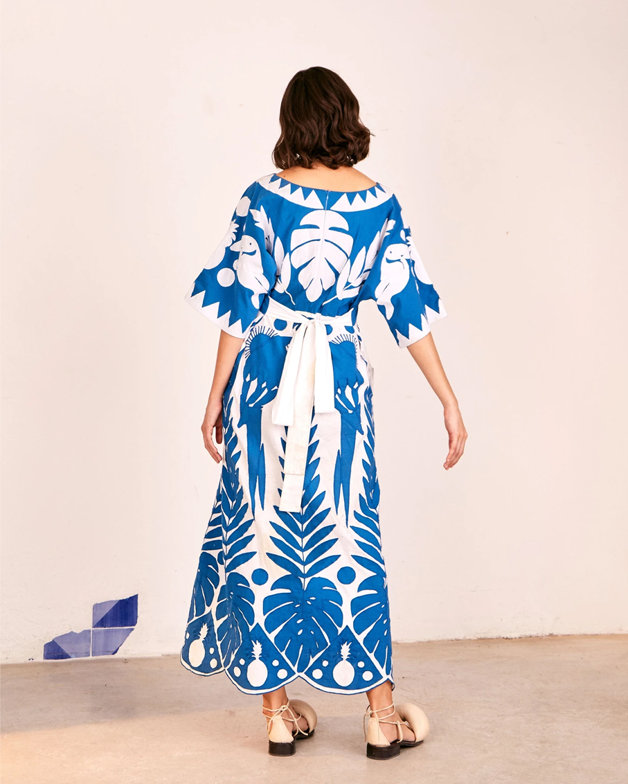 BLUE PATCHWORK EMBROIDERED DRESS MULTI