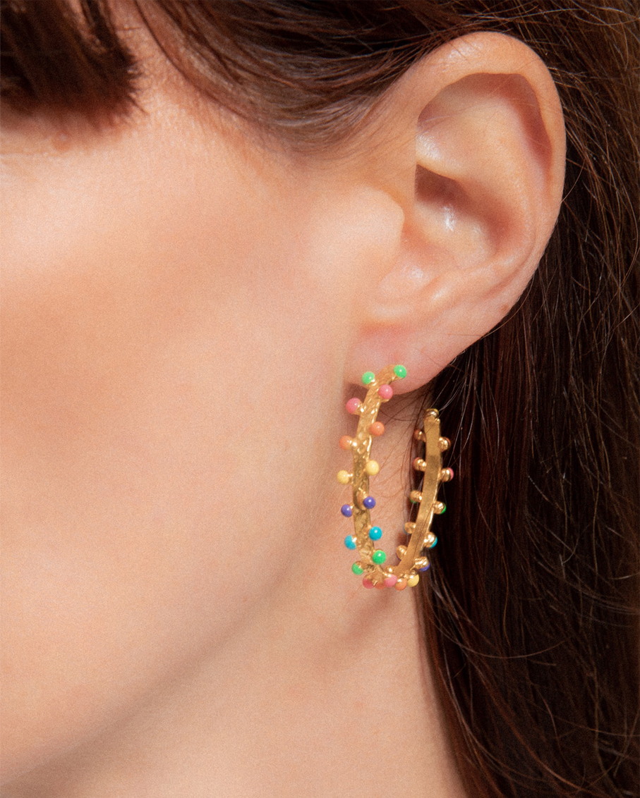GIPSY EARRINGS GOLD WITH MULTI STONES DETAILS