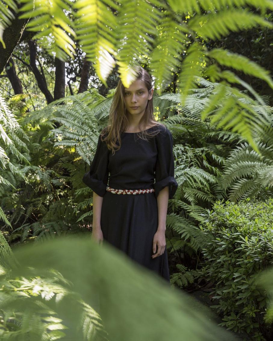 EMILIA LONG SLEEVE DRESS WITH HANDMADE BELT BLACK