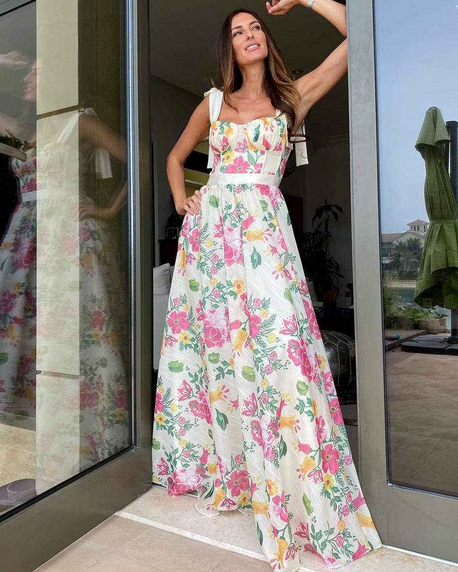 FLOWER PRINT SUMMER DRESS WITH BEIGE STRAPS MULTI