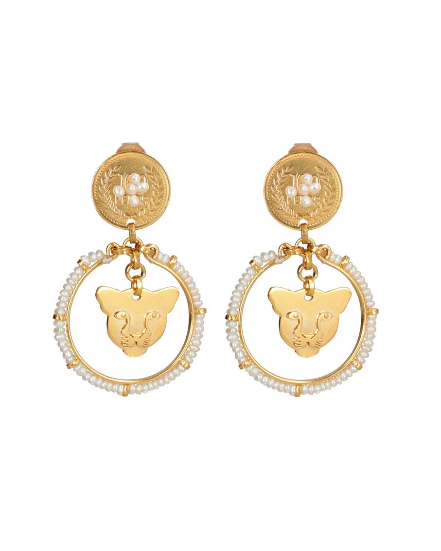 JAGUAR BLANCO GOLD AND PEARL EARRINGS