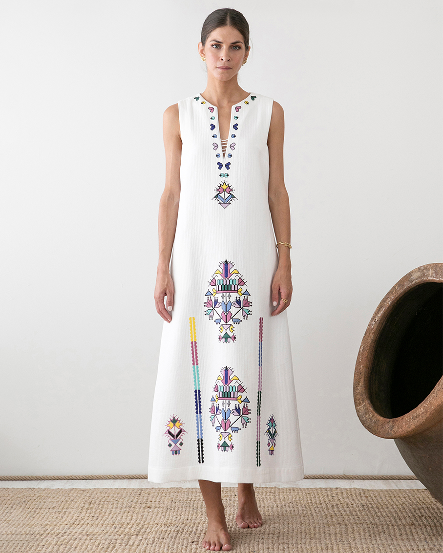 KALYMNOS EMBROIDERED SLEEVELESS LONG DRESS
