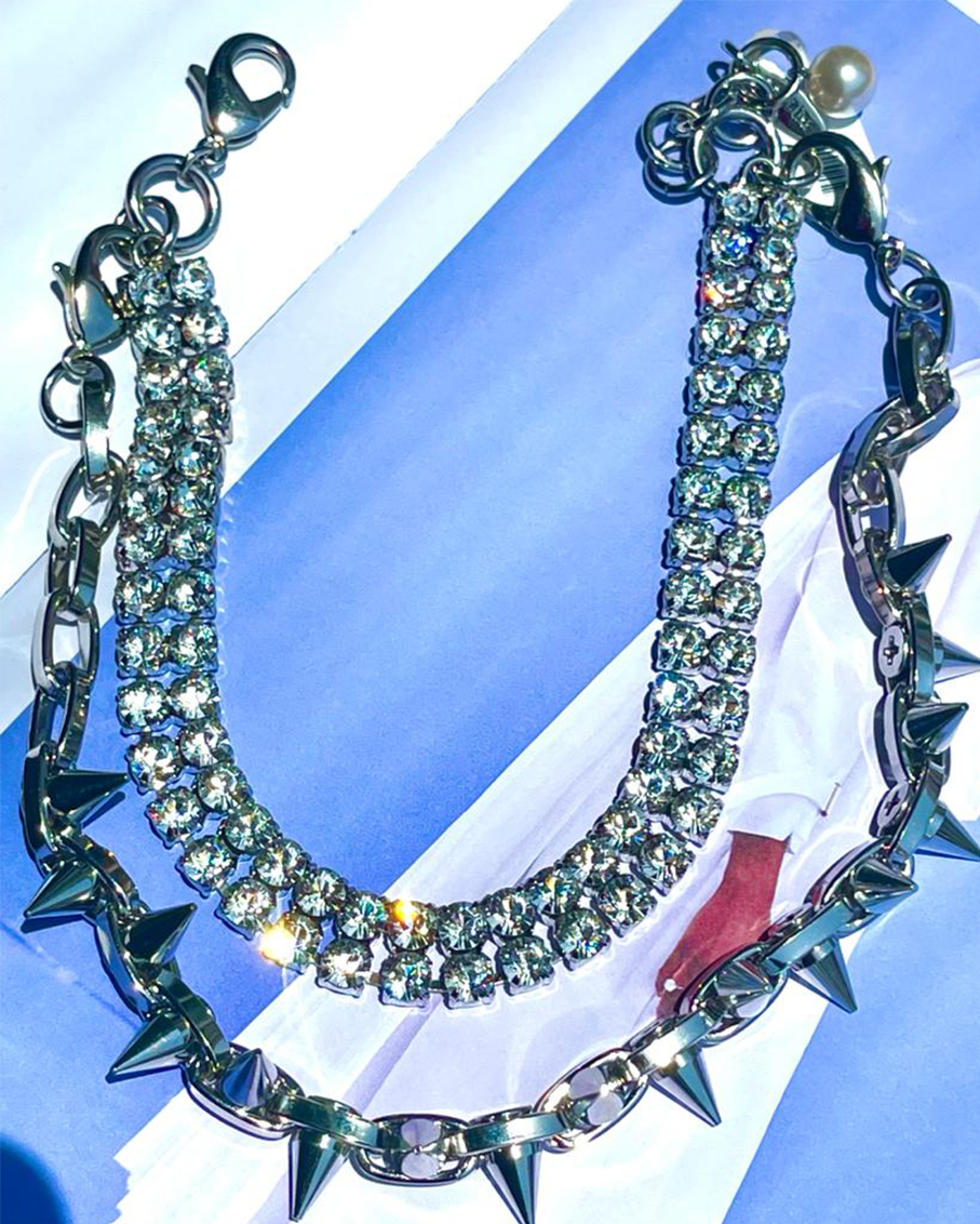 LAYERED CRYSTAL & DOUBLE ROW SPIKE NECKLACE