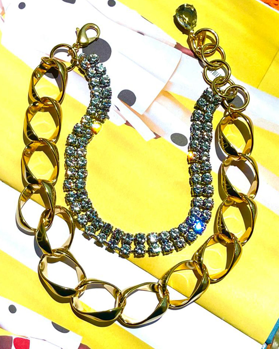 LAYERED GIANT CHAIN & CRYSTAL NECKLACE