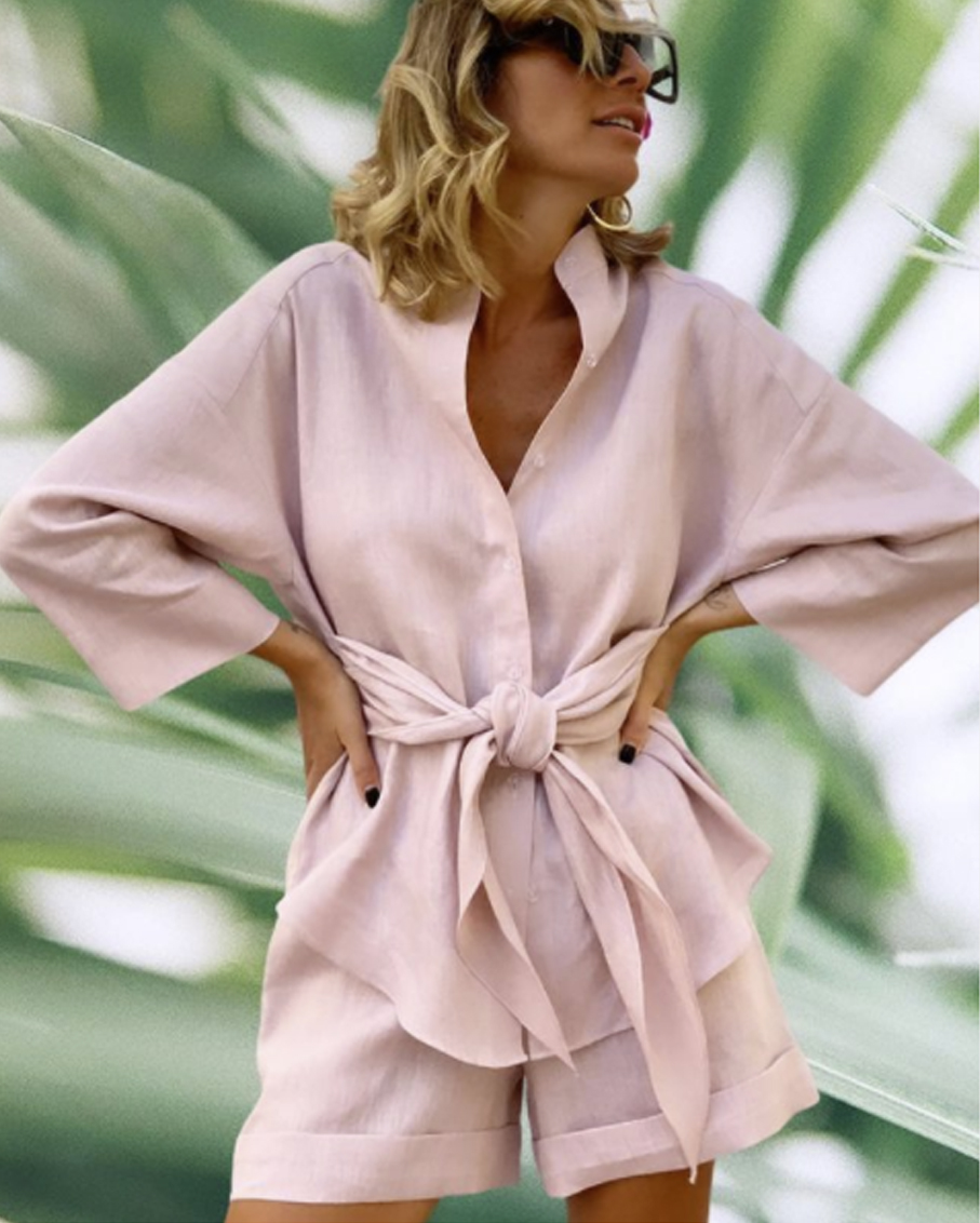 LINEN SHIRTS AND SHORTS SETS PINK