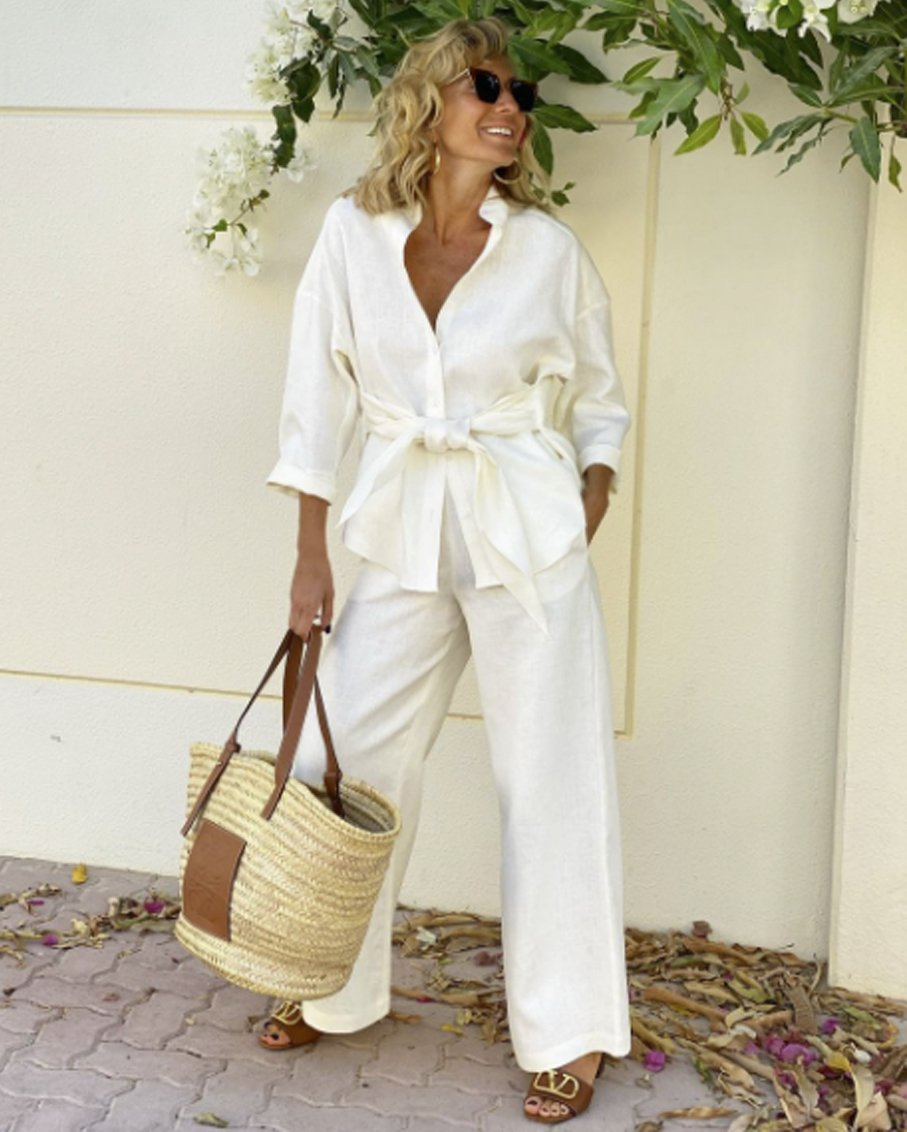 LINEN SHIRTS AND TROUSERS SETS OFF WHITE