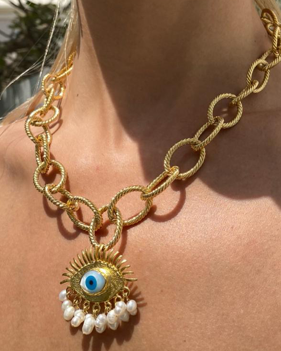 BIG CHAIN NECKLACE WITH PROTECTION EYE