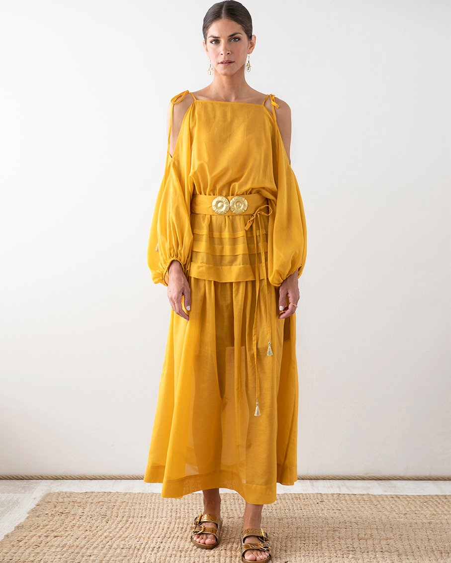 PLOES LONG DRESS WITH GOLDEN BUCKLES AND TASSELS