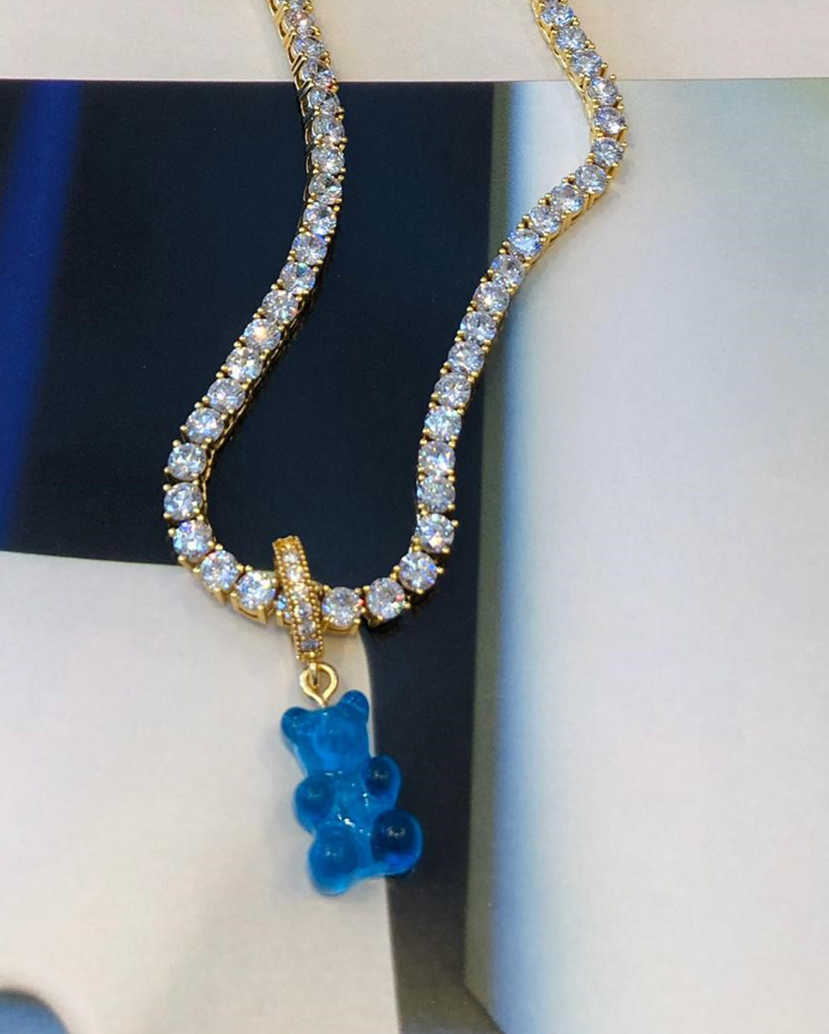 SERENA CLEAR CHAIN WITH BLUE BEAR PAVE GUMMY CONNCETOR