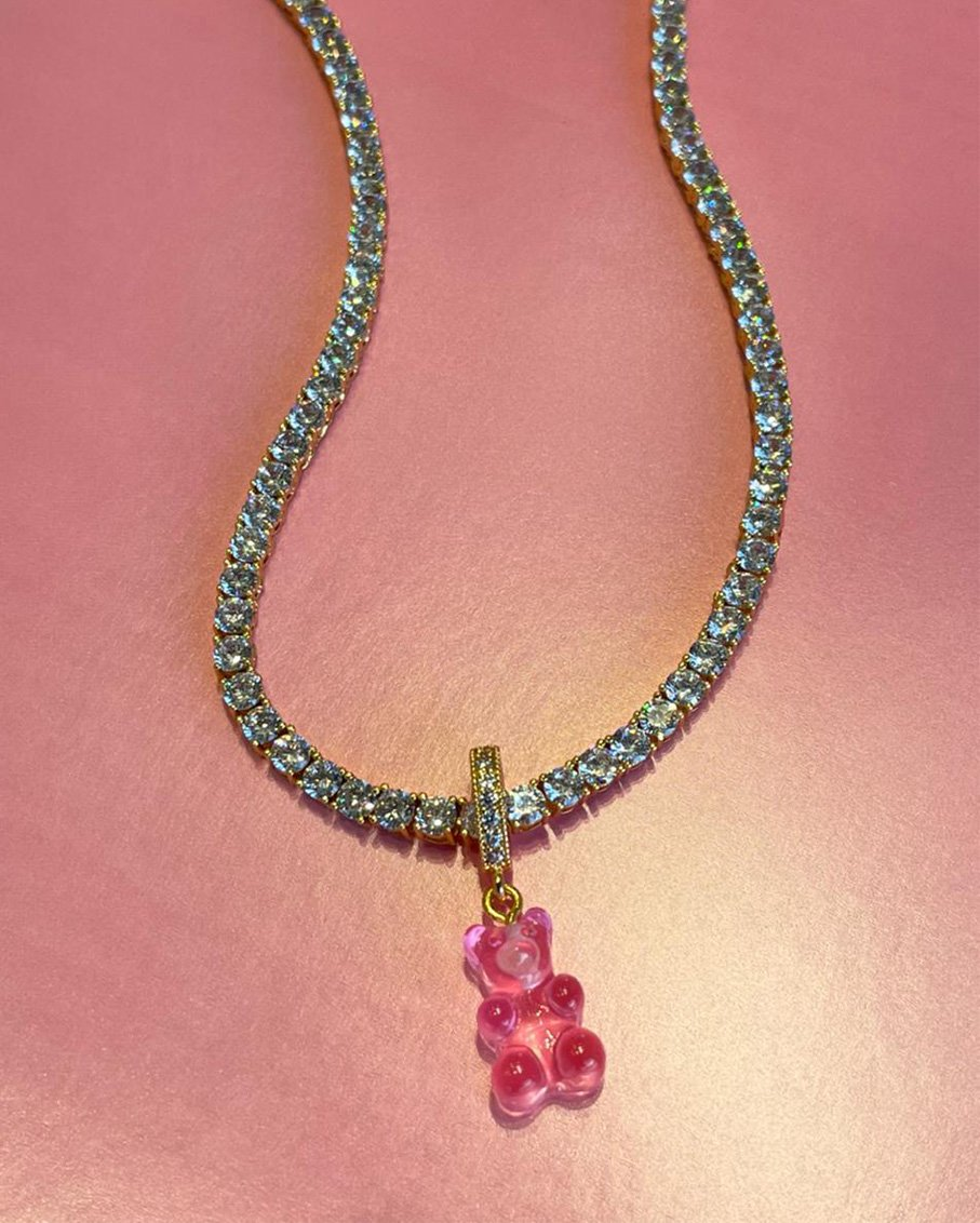 SERENA CLEAR CHAIN WITH CLEAR BUBBLE GUM PINK BEAR PAVE GUMMY CONNECTOR