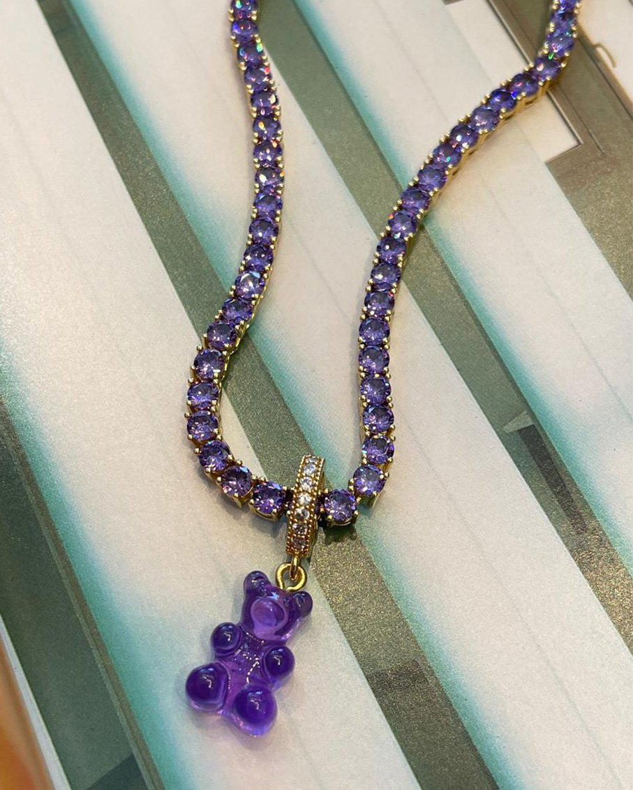 SERENA LAVENDER CHAIN WITH PLUM BEAR PAVE GUMMY CONNECTOR