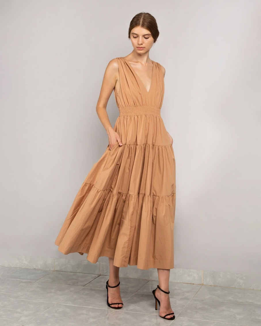TIERED MAXI DRESS BEIGE