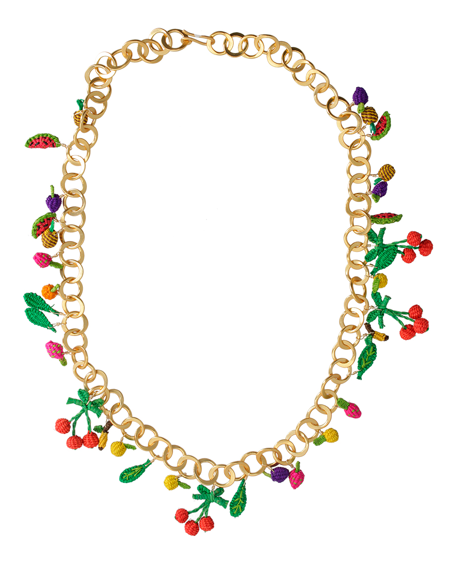 TUTTI FRUTI GOLD AND RED NECKLACE