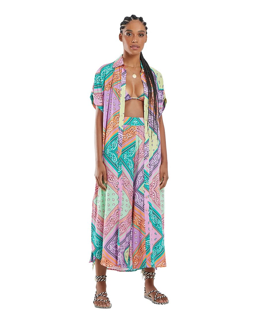RUBI BANDANA CHEMISE DRESS MIX PRINT MULTI