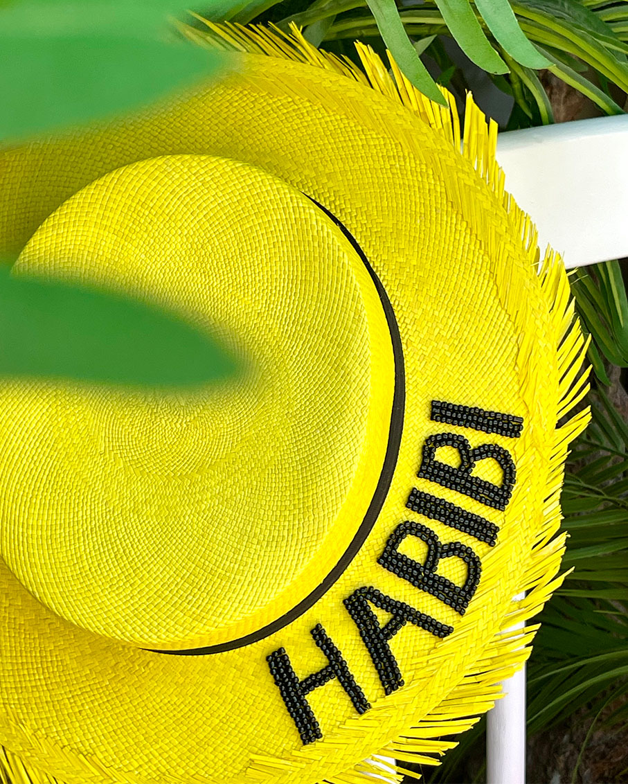 MELROSE YELLOW COLOR HAT WITH HABIBI_BLK