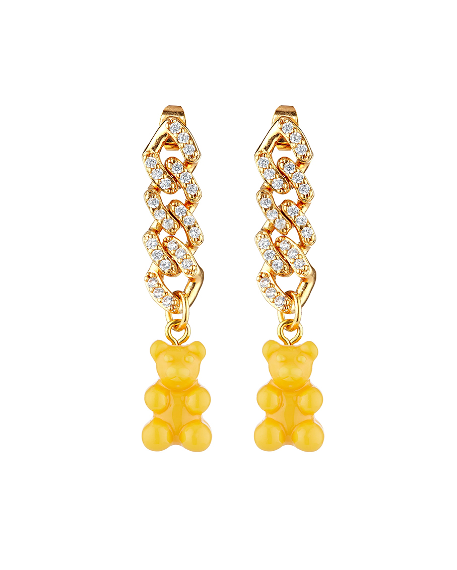 NOSTALGIA EARRING WITH NYC TAXI YELLOW BEAR