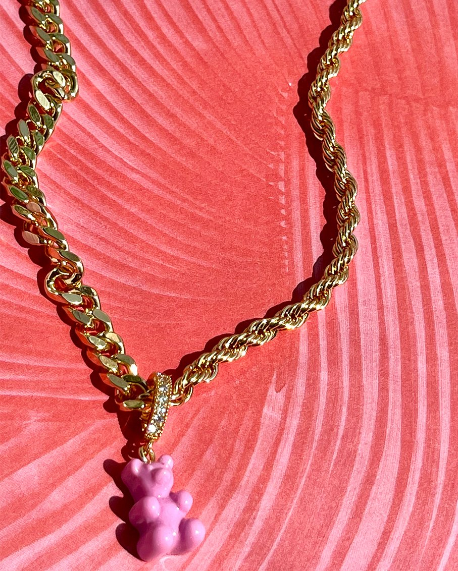 PAZZO CHAIN GOLD WITH CANDY PINK BEAR