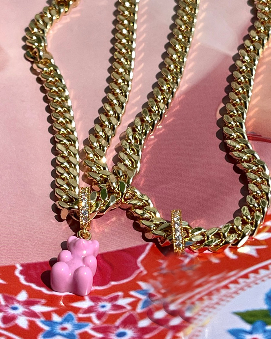 PLAIN JANE NECKLACE-CANDY PINK BEAR
