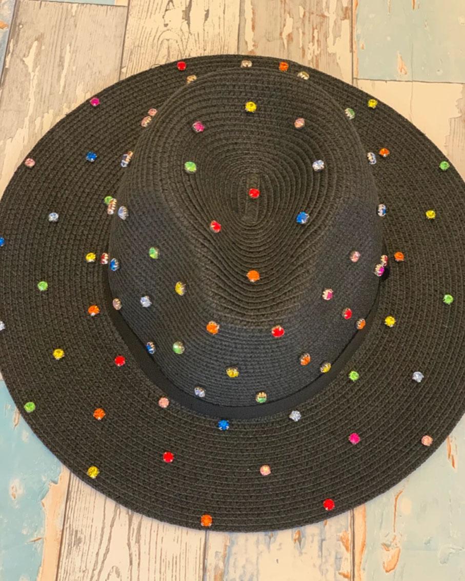 BLACK SUMMER HAT WITH MULTI BLINGS