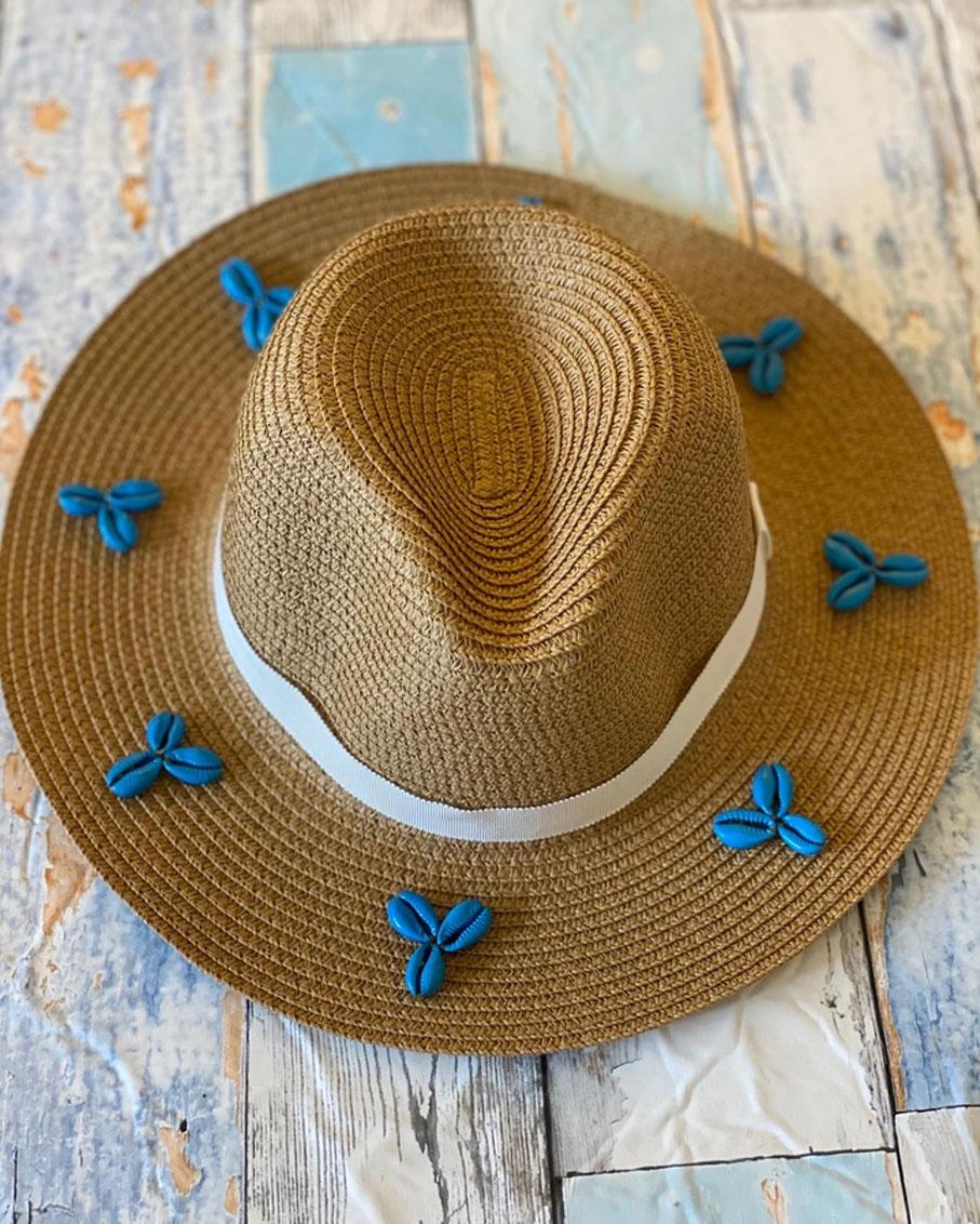 DARK BEIGE SUMMER HAT WITH BLUE SHELL