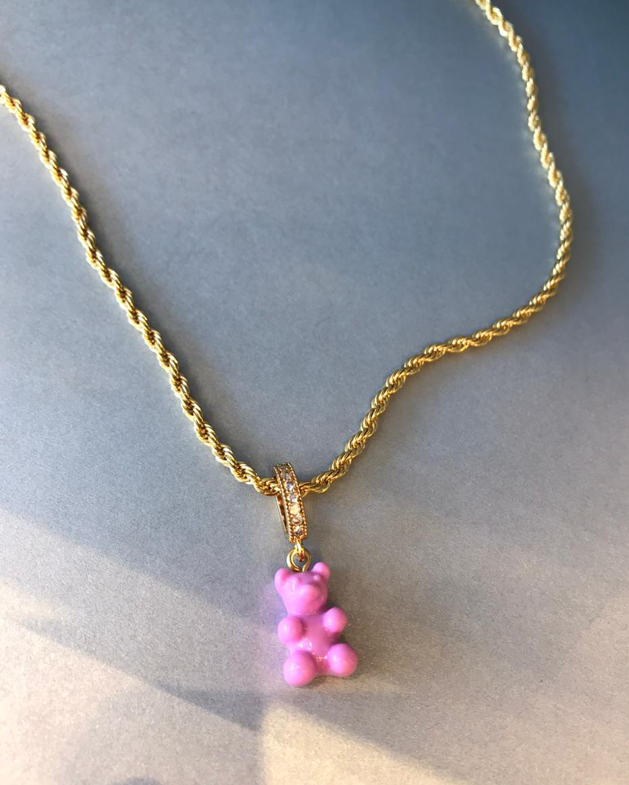 ROPE CHAIN GOLD WITH CANDY PINK BEAR