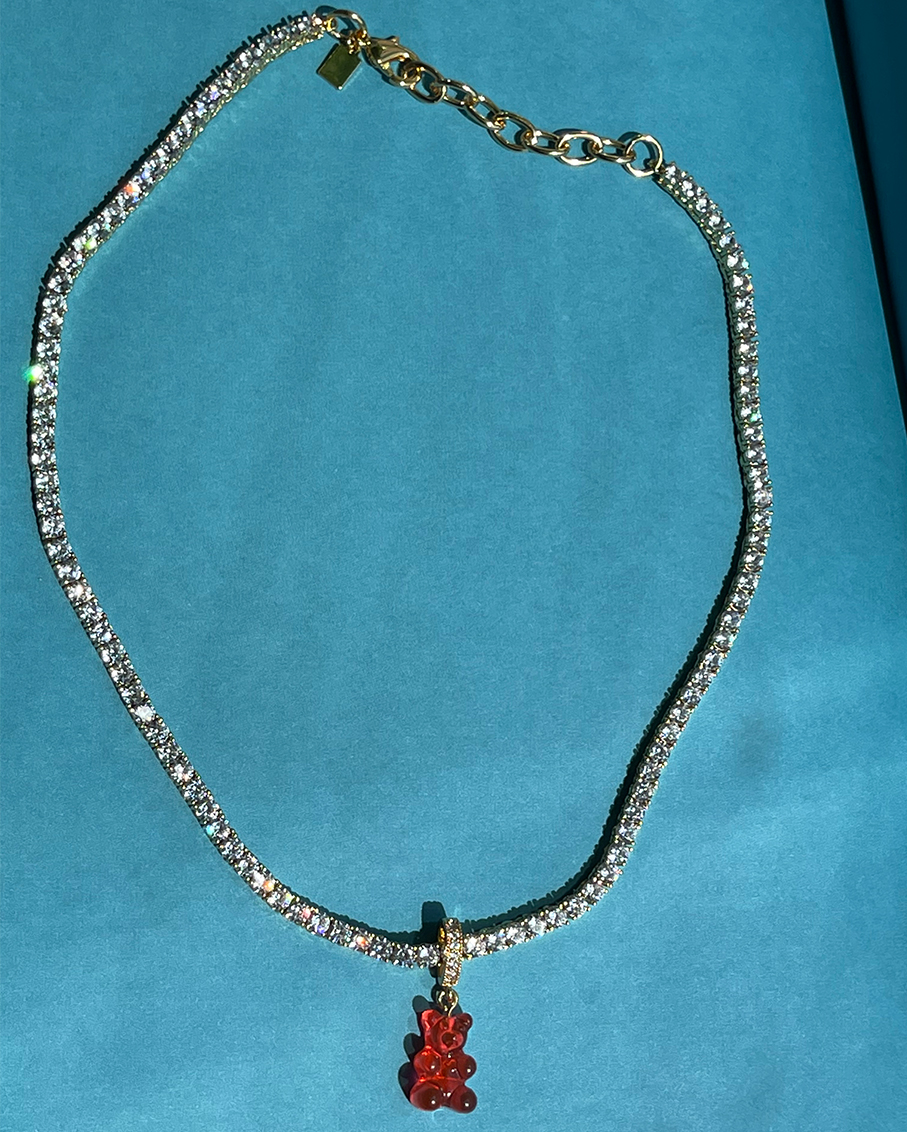 SERENA CLEAR NECKLACE -JELLY RED BEAR