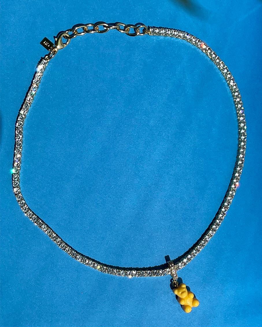SERENA CLEAR NECKLACE -NYC TAXI YELLOW BEAR