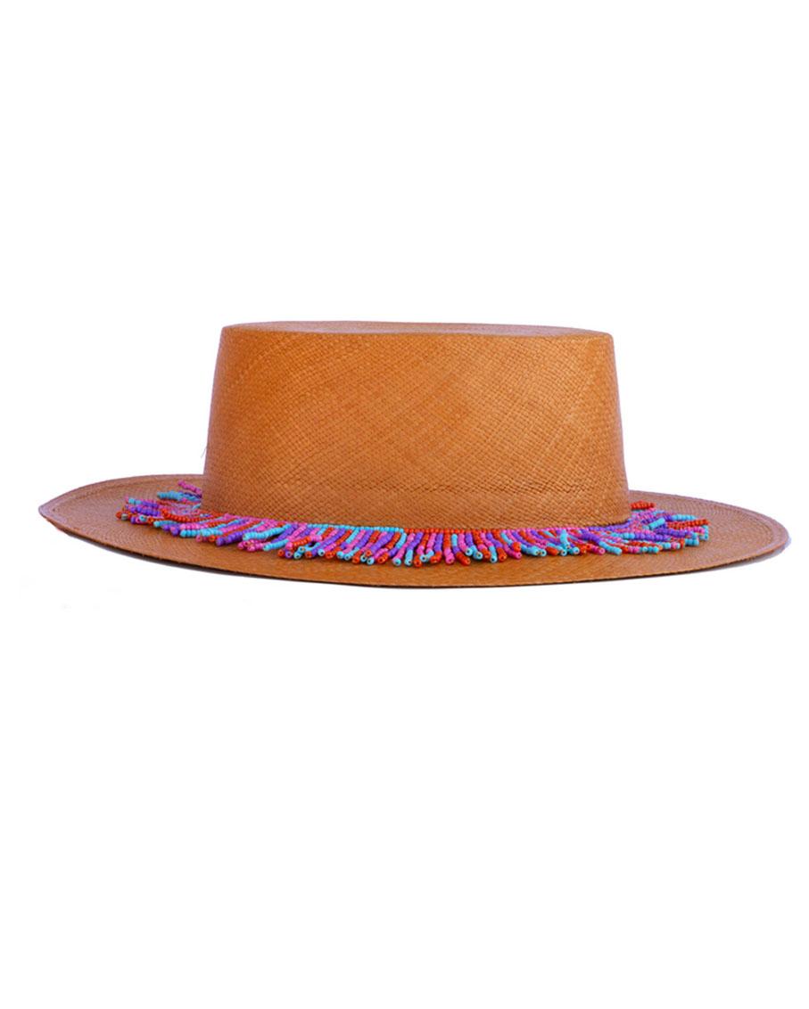 WYNWOOD HAVANA BENDED HAT WITH MULTY BEAD