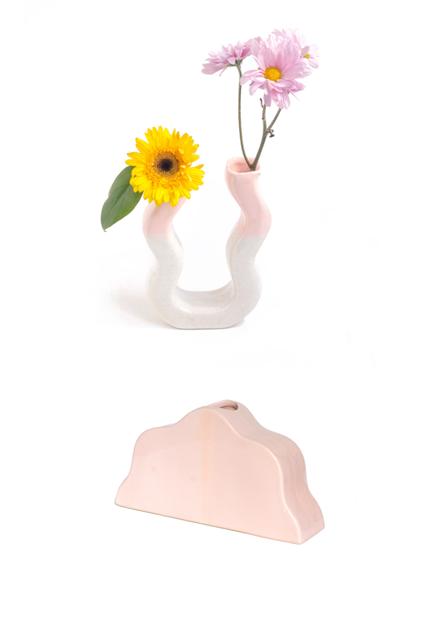 LILAC AND PINK COLOR DUO VASE WITH PINK BIG CLOUD VASE SETS