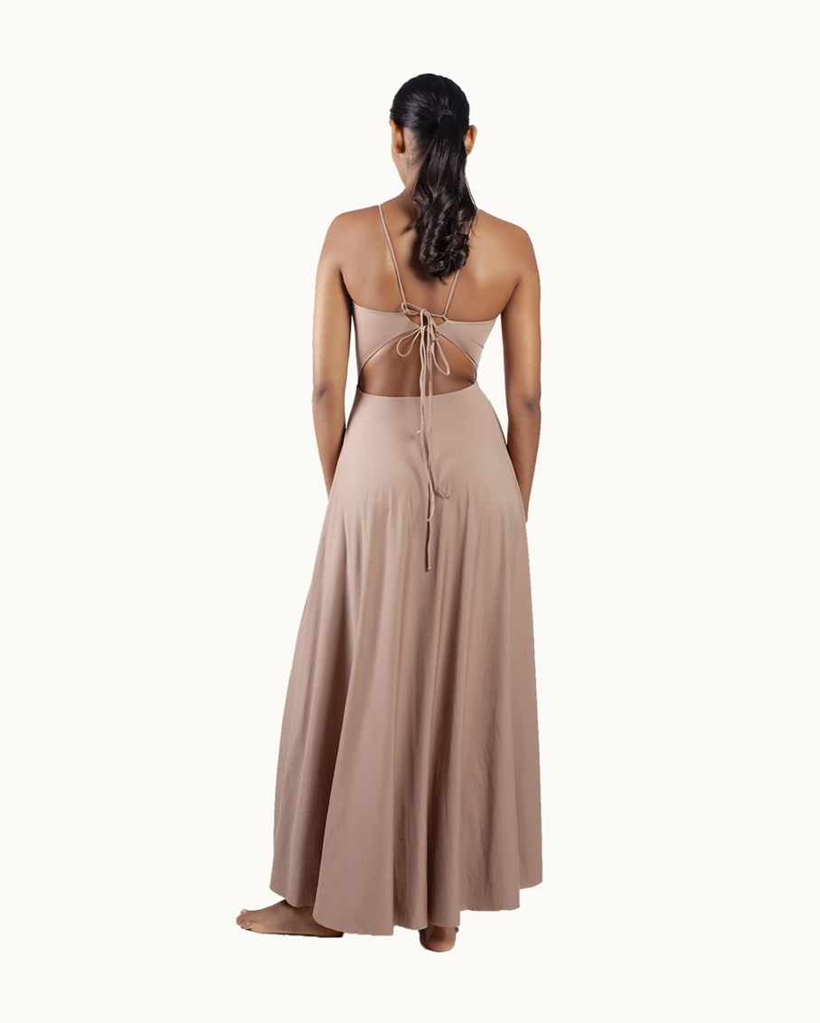 ESTHER MAXI DRESS TOBACCO BROWN