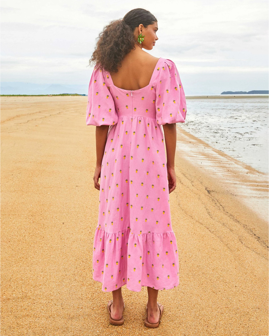 EMBROIDERED PINEAPPLES PINK MIDI DRESS_PINK