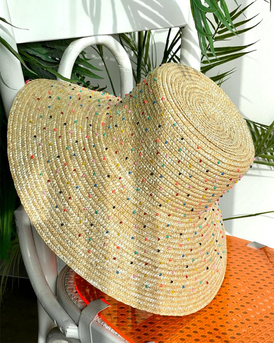 HAT FULLY EMBROIDERED WITH BEADED DOTS MULTI COLOR