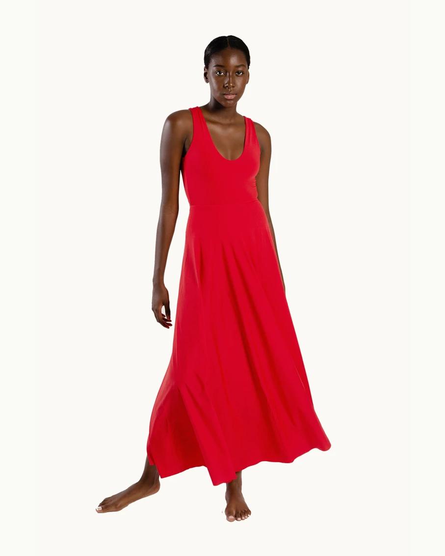 MAR REVERSIBLE MAXI DRESS RED