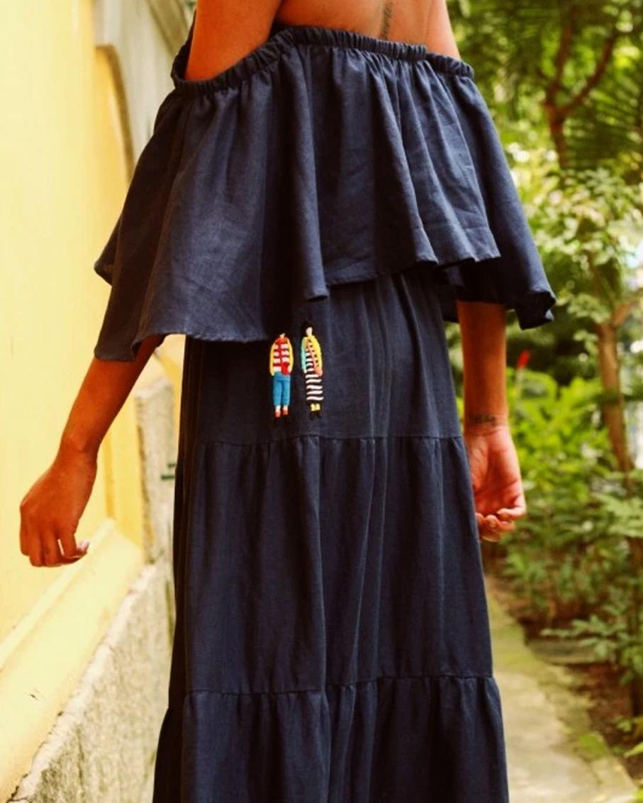 SAIA BORDADA PEOPLE MARINHO DRESS NAVY