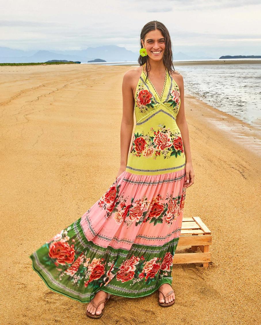 MANUELA FLORAL PASTEL LONG DRESS MULTI