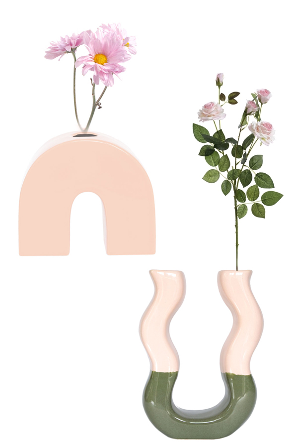 PINK GREEN DUO VASE WITH PINK BOW VASE SETS
