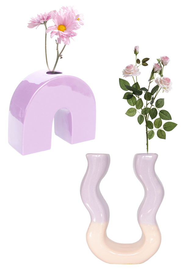 PINK LILAC DUO VASE WITH LILAC BOW VASE SETS