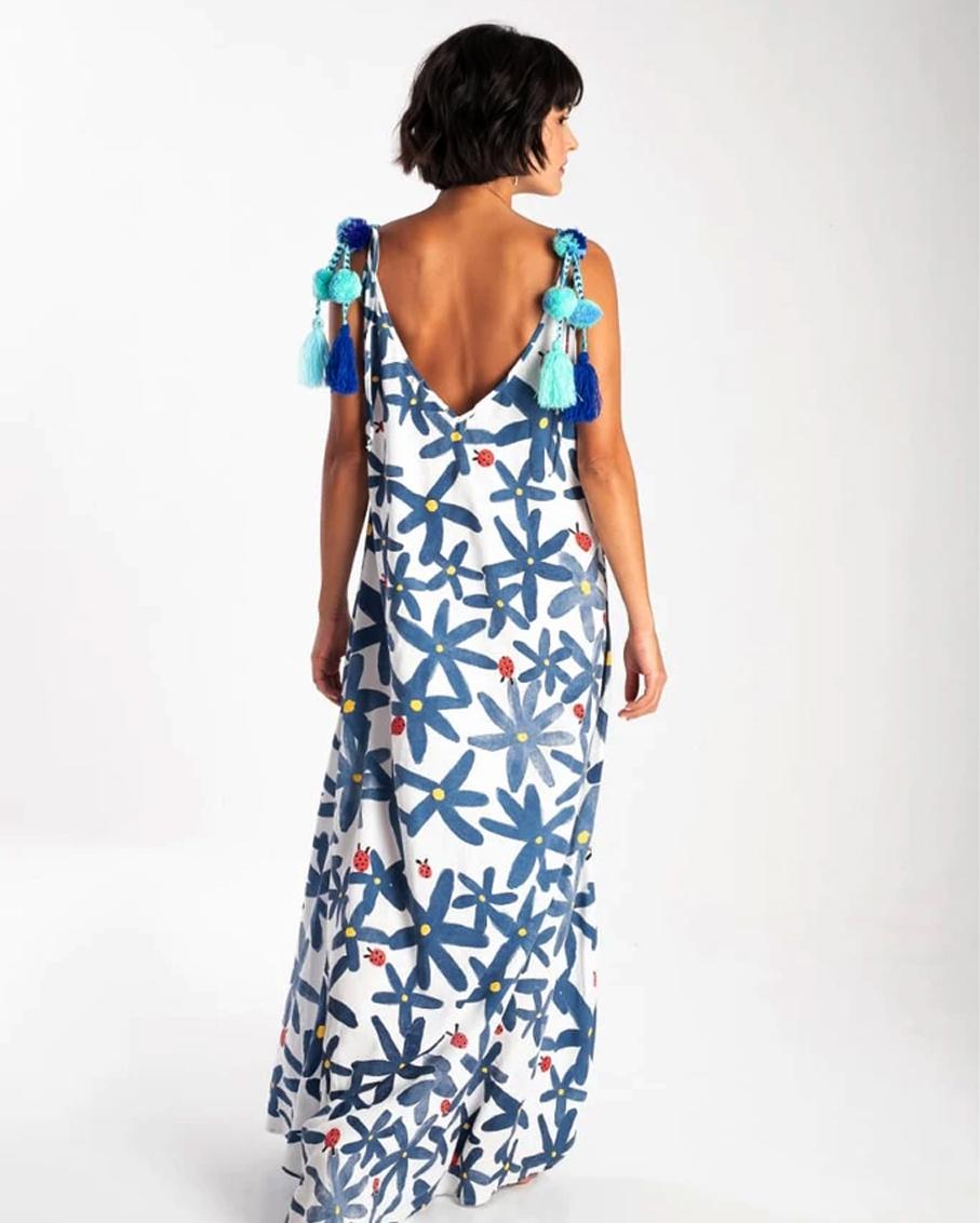 VESTIDO POMPOM DRESS AZUL BLUE