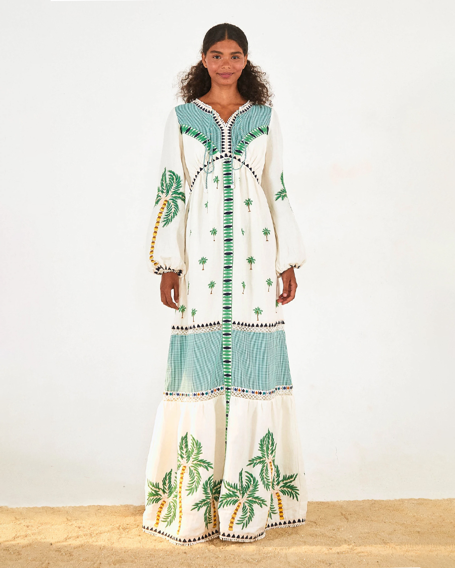 PALM TREE EMBROIDERED DRESS OFF WHITE