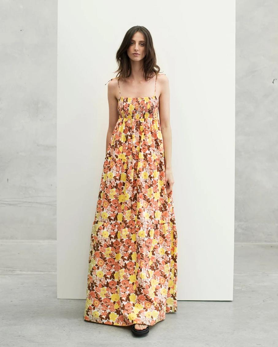 SHIRRED SPAGHETTI STRAP MAXI DRESS FEMME FLORAL