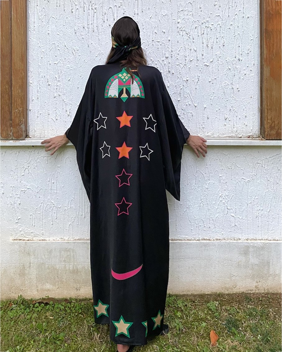 DUCK PRINT KIMONO WITH BELT AND WIDE SLEEVES DETAILS BLACK