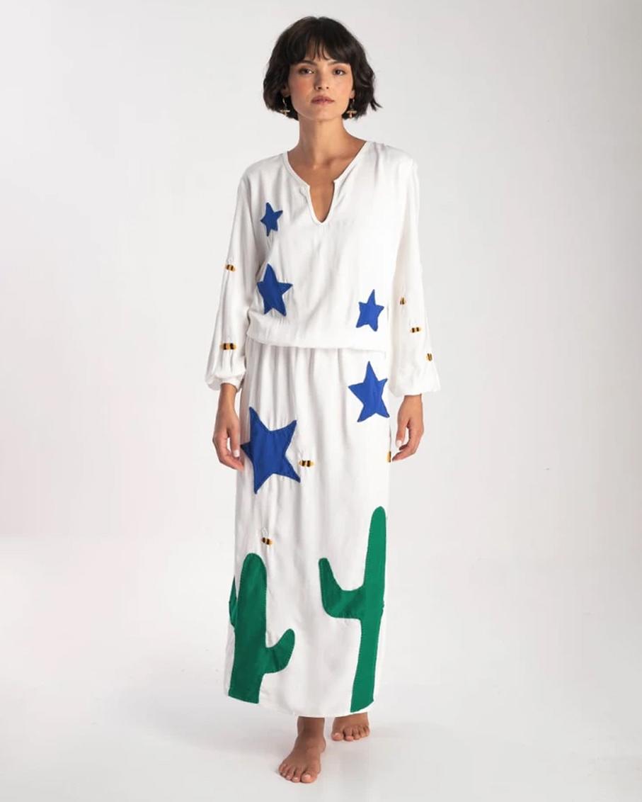VESTIDO CACTOS BRANCO WHITE DRESS