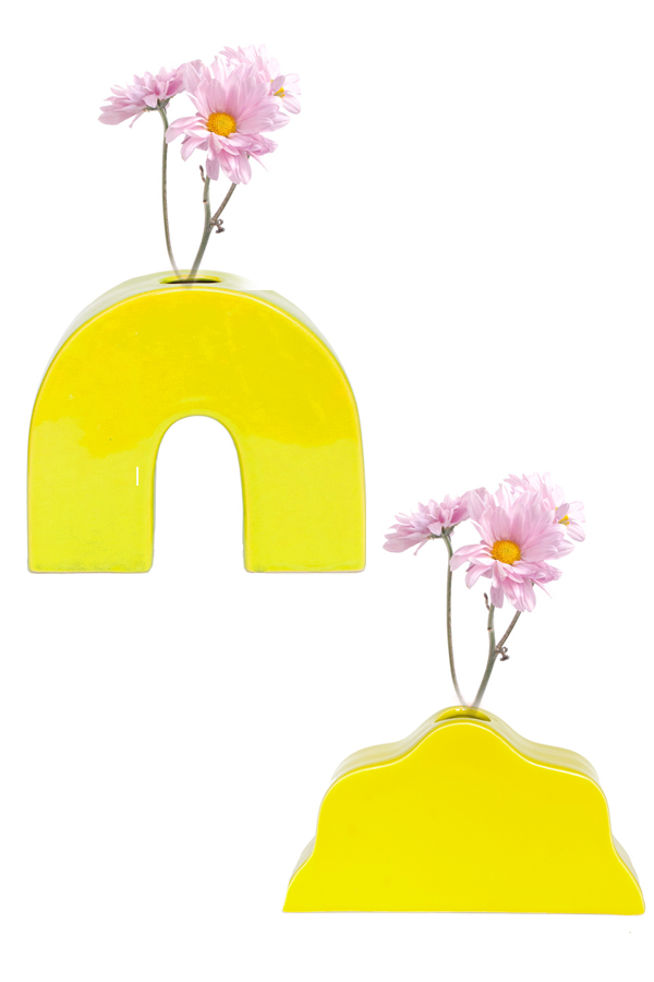 YELLOW BIG CLOUD VASE WITH YELLOW BOW VASE SETS