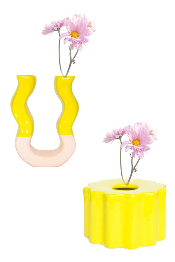 YELLOW PINK DUO VASE WITH YELLOW SOLAR VASE SETS