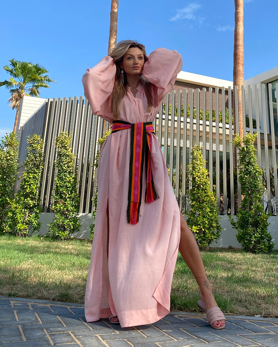 APRICOT COTTON CAFTAN WITH GREEN BELT