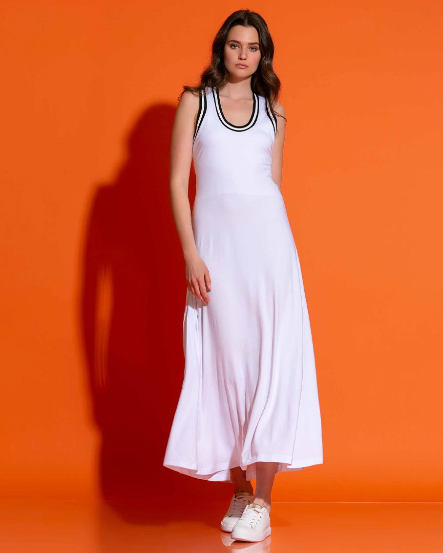 ATHLETIC VISCOSE DRESS WHITE